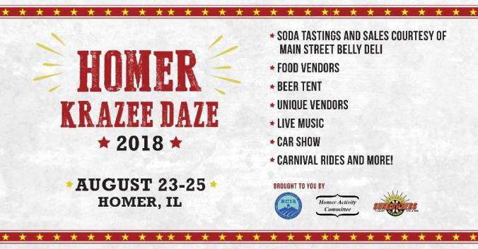 Homer Krazee Daze infographic. August 23-25, Homer, Illinois